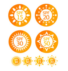 sun cream round orange labels spf set vector image