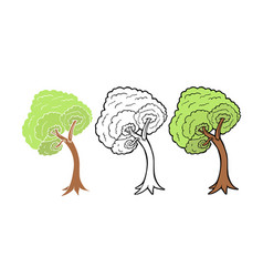 tree isolated on white background line art and vector image vector image