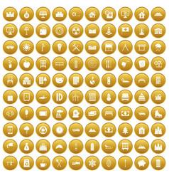 100 villa icons set gold vector