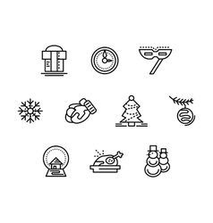 Christmas symbols black line icons set vector image