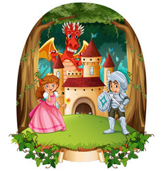 fairytale scene with prince and princess vector image