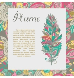 postcard with plume and text sample vector image