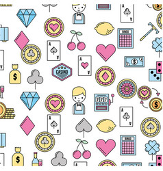casino set icons pattern background vector image