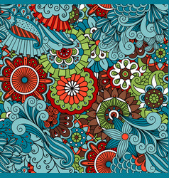 colorful floral ethnic pattern vector image vector image