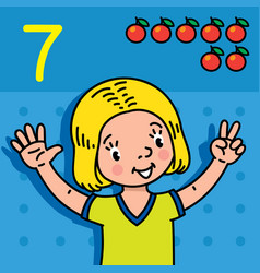 Girl showing seven by hand counting education card vector