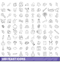 100 feast icons set outline style vector