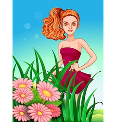 A pretty young girl in the meadow vector