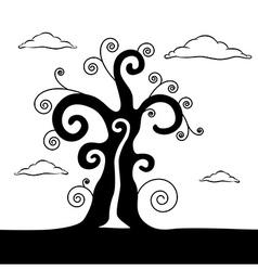 Abstract Black Tree With Clouds vector image