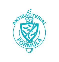 Antibacterial formula sign - crossed out bacteries vector