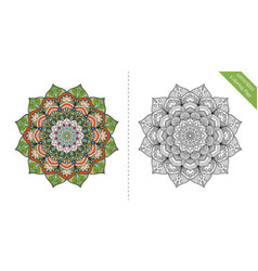 Antistress coloring page mandala first vector