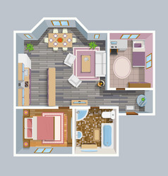 Architectural flat plan top view vector