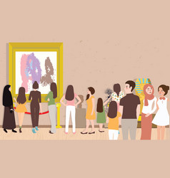 Art gallery exhibition busy many people man woman vector