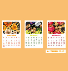autumn calendar realistic with pumpkin vector image