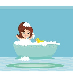 baby girl taking bath and playing vector image