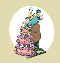 baker making cakes clipart cartoon vector image