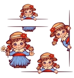 Banners with sweet girl in hat vector