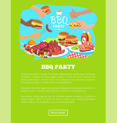 Bbq party website and text vector