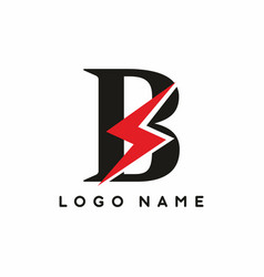 black b letter with red electrical sign logo vector image
