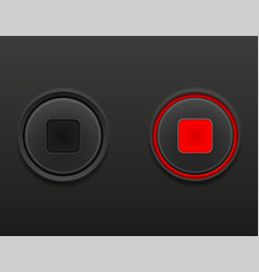 black media button stop on and off position stock vector image