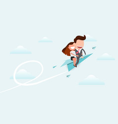 Businessman and women riding a paper plane and vector