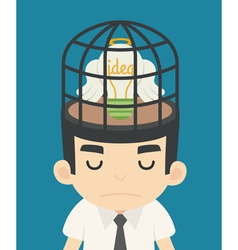 Businessman idea inside the birdcage vector image