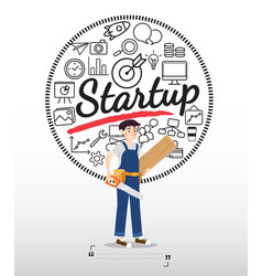 carpenter character with startup icons on white vector image