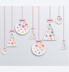 christmas and new year paper applique of snowflake vector image