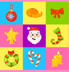 christmas icon set collection cartoon vector image