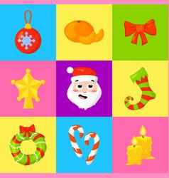 Christmas icon set collection cartoon vector