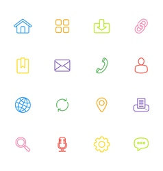 colorful line simple web icon set vector image
