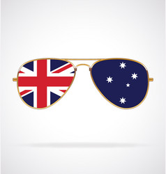 Cool gold aviator sunglasses with australian flag vector