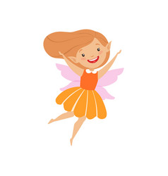 Cute beautiful little winged fairy lovely happy vector