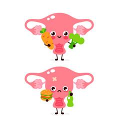 cute healthy happy uterus organ with vegetables vector image