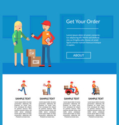 delivery flat elements website landing page vector image