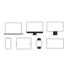 Device and gadget line art set modern electronic vector