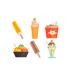 different types ice cream set tasty ice cream vector image