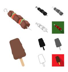 fast food cartoonblackflatmonochromeoutline vector image