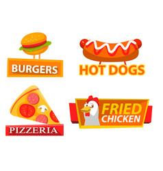 fastfood label hamburger and chicken logo vector image