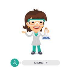 Female chemistry teacher with a bulb vector