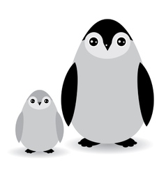 Funny penguins on white background vector