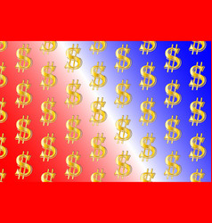 golden dollar on colorful background vector image