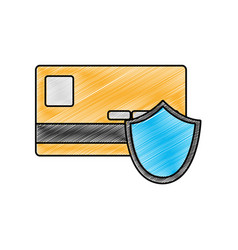 Grated digital credit card with shield security vector