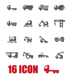 Grey construction transport icon set vector