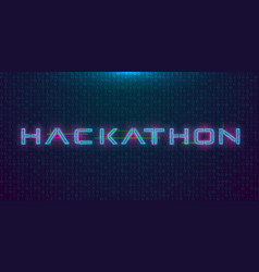 Hackathon hud hologram cyberpunk style banner vector
