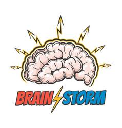 hand drawn emblem thinking process vector image