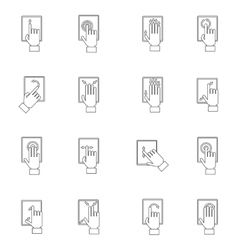 Hand Touching Screen Outline Icon vector image