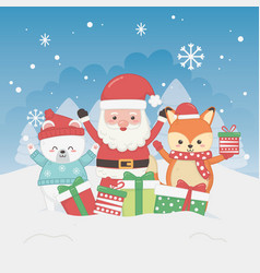 happy merry christmas card with santa claus and vector image