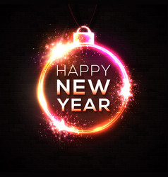 happy new year neon light text design template vector image