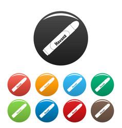 havan cigar icons set color vector image