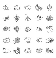 icon collection fruit with outline style pixel vector image